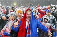 Mereu Alaturi de Voi! - suporterii Stelei indura zapada la meciul cu Villareal - martie 2005